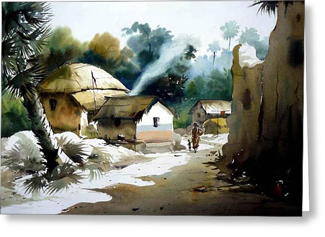 Bengal Village At Noontime Greeting Card by Samiran Sarkar