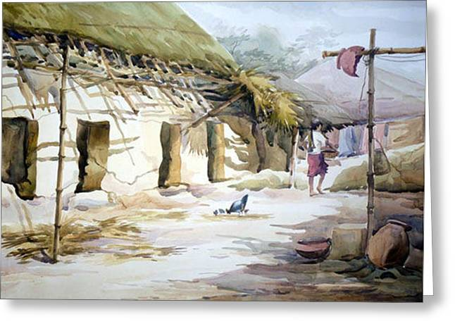 Greeting Card featuring the painting Bengal Village Life by Samiran Sarkar