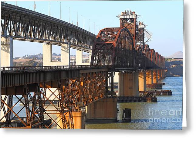 Benicia-martinez Bridges Across The Carquinez Strait In California . 7d10425 Greeting Card by Wingsdomain Art and Photography