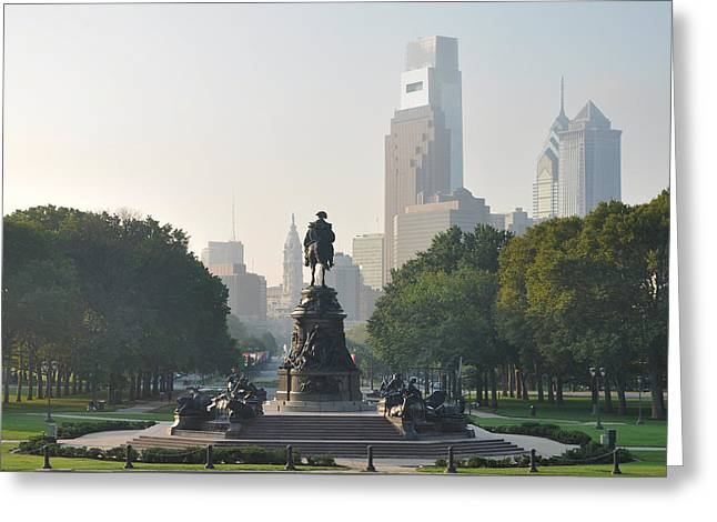 Benjamin Franklin Parkway Greeting Card by Bill Cannon