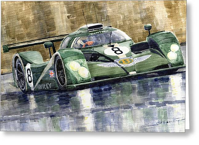 Bentley Prototype Exp Speed 8 Le Mans Racer Car 2001 Greeting Card by Yuriy  Shevchuk