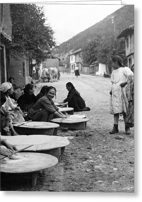 Berkovitsa Bulgaria - Women Making Bread In The Streets - C 1911 Greeting Card by International  Images
