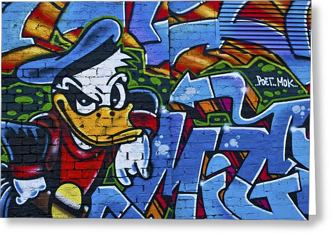 Berlin Streetart Donald Duck As Phantomias Greeting Card by Urs Schweitzer