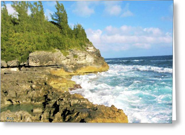 Greeting Card featuring the digital art Bermuda Cliff by Richard Stevens