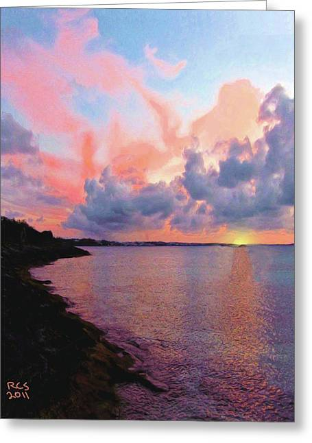 Greeting Card featuring the digital art Bermuda Sunset by Richard Stevens