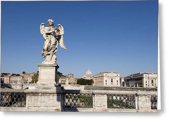Bernini Statue On The Ponte Sant Angelo. Rome Greeting Card by Bernard Jaubert