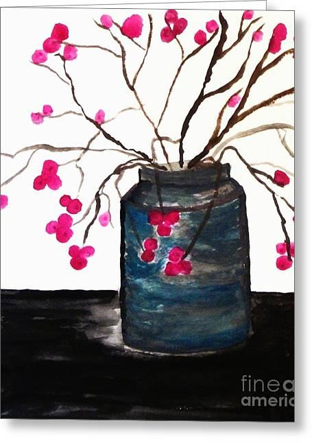Berries In A Jar Greeting Card by Marsha Heiken