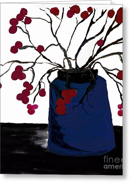 Berry Twigs In A Vase Greeting Card by Marsha Heiken