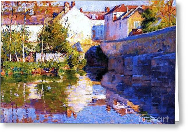 Beside The River - Grez Greeting Card by Pg Reproductions