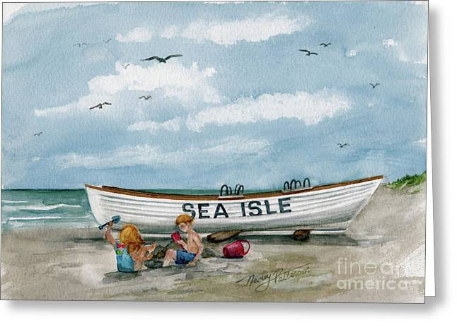 Greeting Card featuring the painting Best Buddies In Sea Isle  by Nancy Patterson