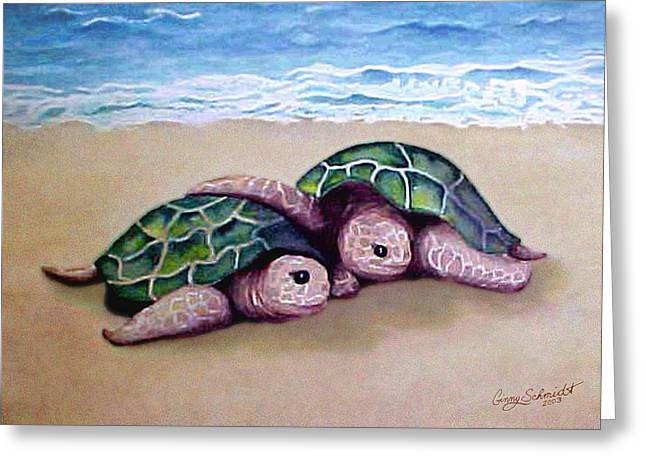 Greeting Card featuring the painting Best Friends Forever by Ginny Schmidt