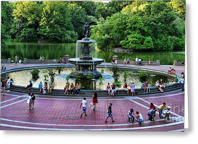 Bethesda Fountain Overlooking Central Park Pond Greeting Card by Paul Ward