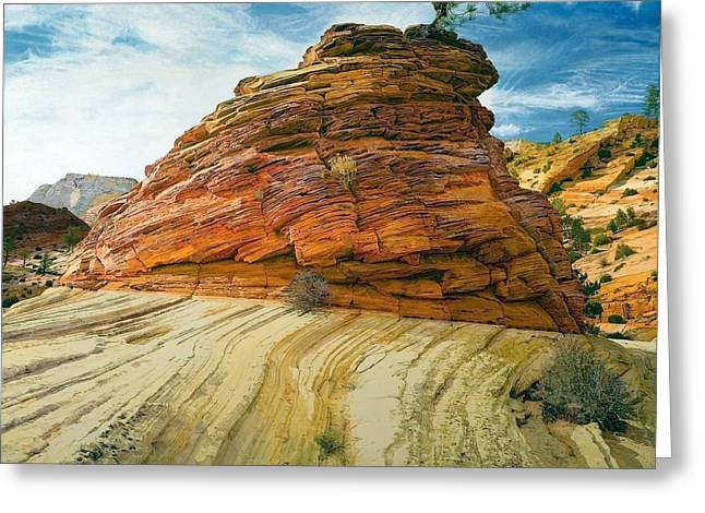 Between A Rock And A Soft Place Greeting Card by Robert Keller