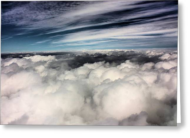 Between Heaven And A Soft Place Greeting Card by Kristin Elmquist