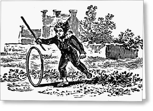 Bewick: Boy With Hoop Greeting Card by Granger