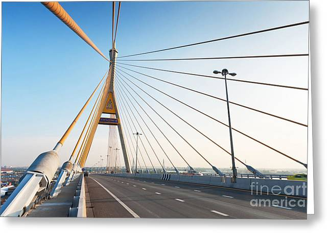 Bhumipol Bridge Greeting Card by Atiketta Sangasaeng