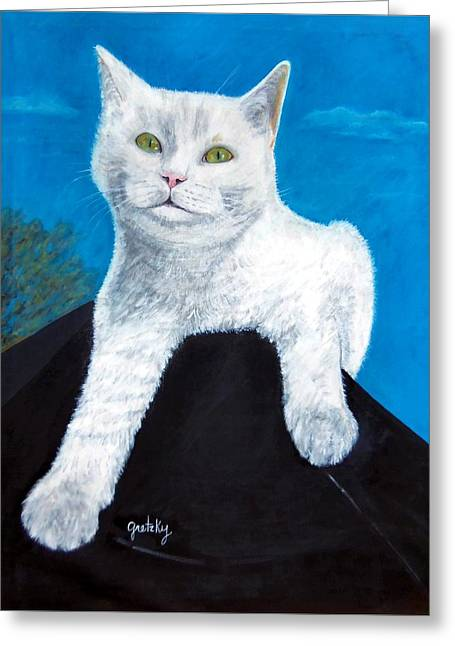Bianca Greeting Card by Paintings by Gretzky