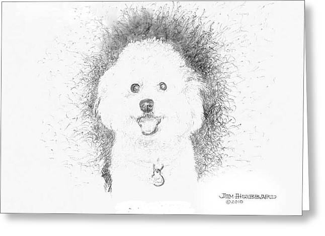 Greeting Card featuring the drawing Bichon Frise by Jim Hubbard