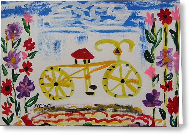 Bicycle And Flowers Greeting Card by Mary Carol Williams