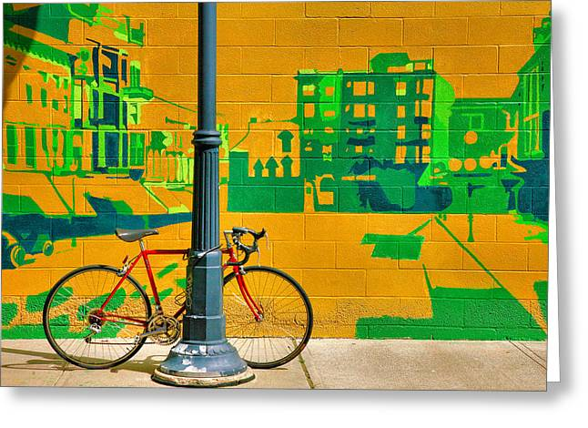 Bicycle And Mural Greeting Card by Steven Ainsworth