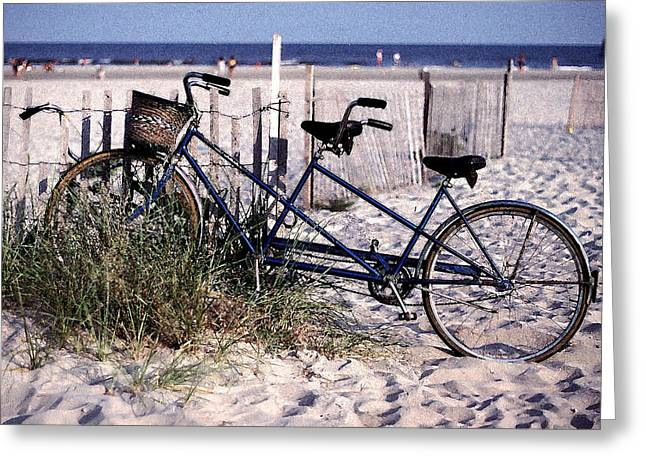 Bicycle Built For Two On A Beach Greeting Card by Ercole Gaudioso