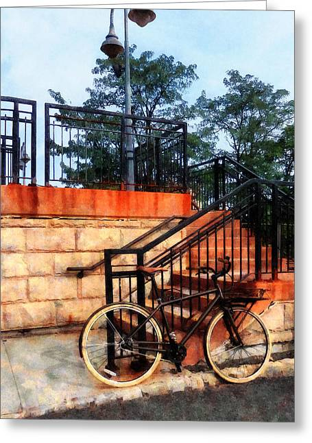 Bicycle By Train Station Greeting Card by Susan Savad