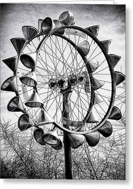 Bicycle Wheel Sculpture Greeting Card by Ron Regalado