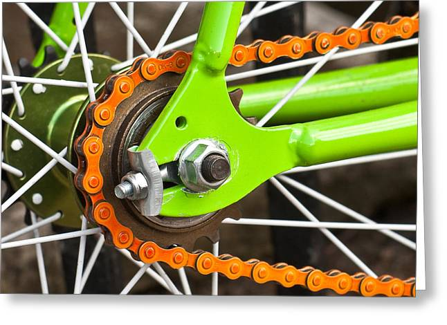 Bicycle Wheel Greeting Card by Tom Gowanlock