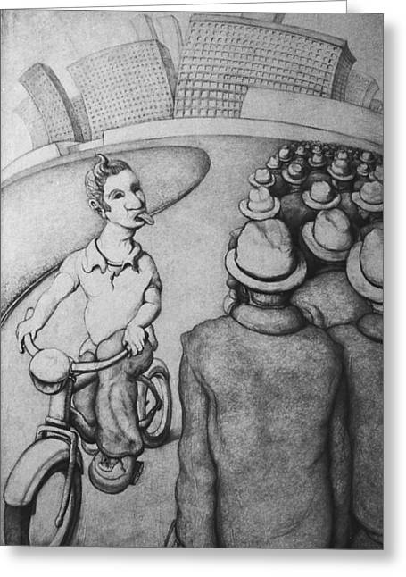 Bicyclist Greeting Card by Louis Gleason