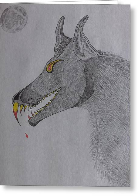 Greeting Card featuring the drawing Big Bad Wolf by Gerald Strine
