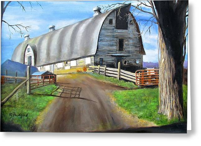 Greeting Card featuring the painting Big Barn At Kripplebush by Oz Freedgood