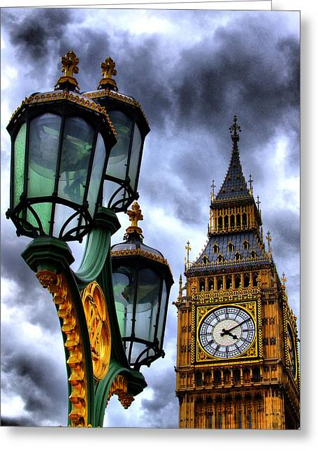 Big Ben And Lamp - Hdr Greeting Card by Colin J Williams Photography