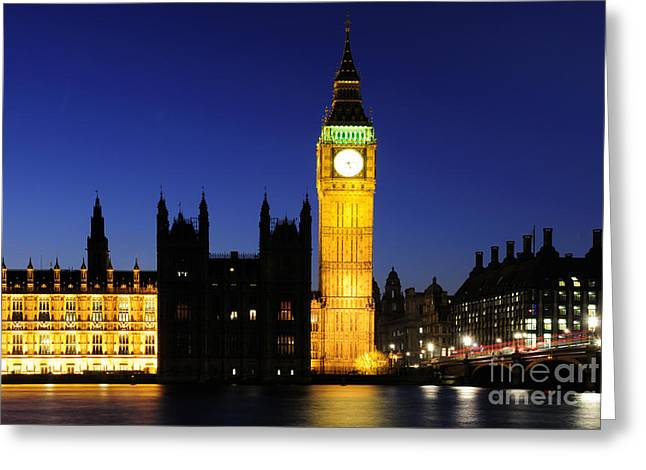 Big Ben At Night Greeting Card by Liz Pinchen