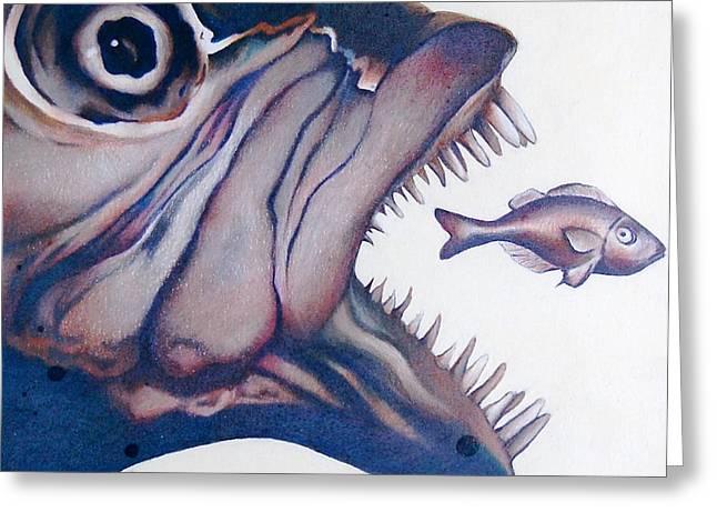 Big Fish Small Fry Greeting Card by Joan Pollak