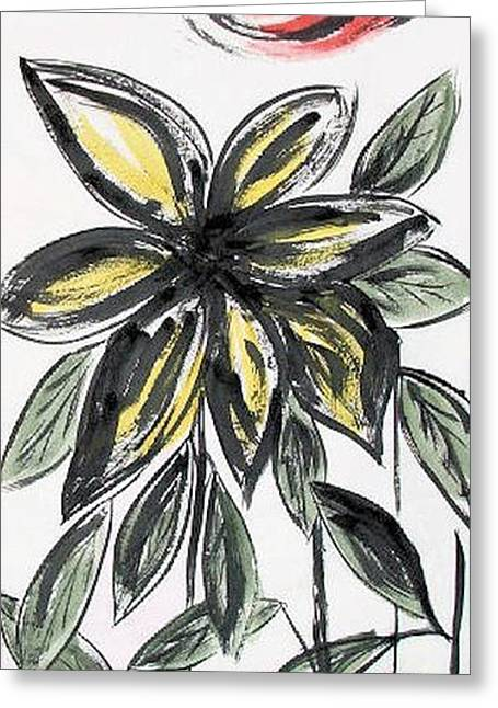 Greeting Card featuring the painting Big Flower by Alethea McKee
