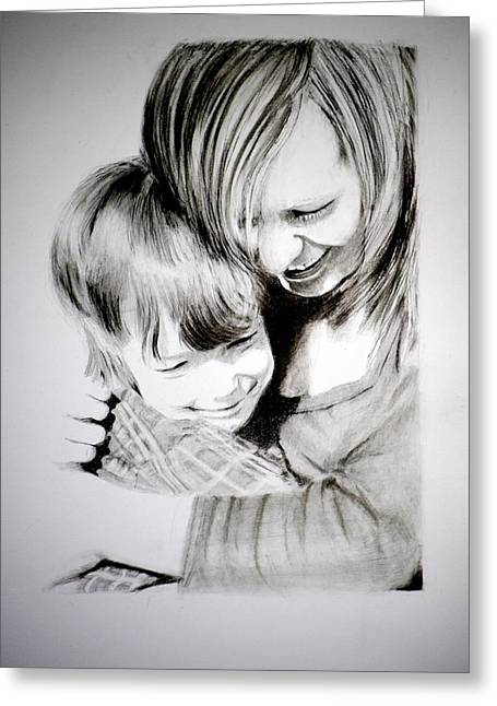 Greeting Card featuring the drawing Big Hug by Lynn Hughes