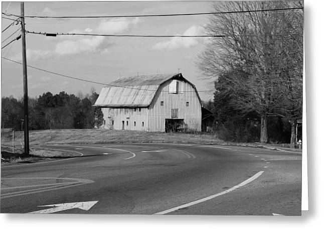 Big Metal Barn In The Curve Greeting Card