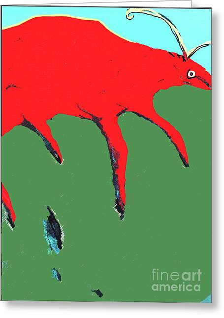 Greeting Card featuring the painting Big Red by Bill Thomson