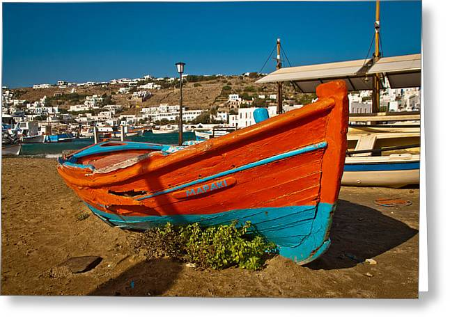 Big Red Boat On The Sand Greeting Card by Preston Coe