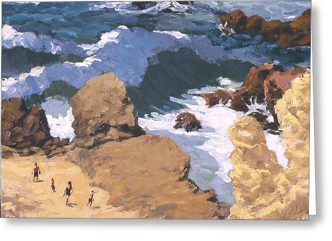 Big Surf At Little Corona Greeting Card by Mark Lunde