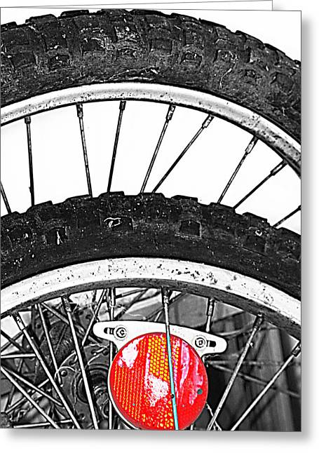 Big Wheels Keep On Turning Greeting Card by Empty Wall