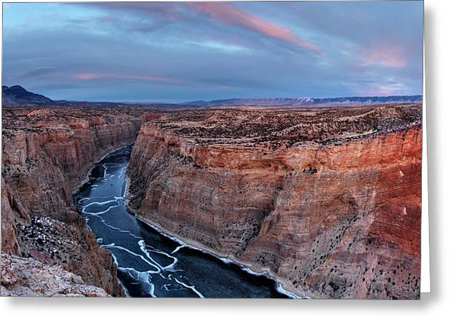Bighorn River Winter Sunset Greeting Card by Leland D Howard