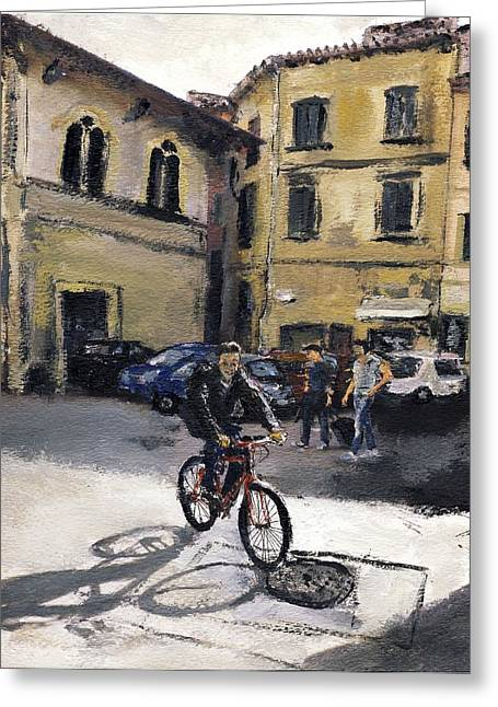 Biker Florencia Greeting Card by Randy Sprout