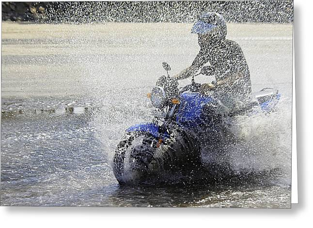 Biker  Making A Splash Greeting Card by Kantilal Patel