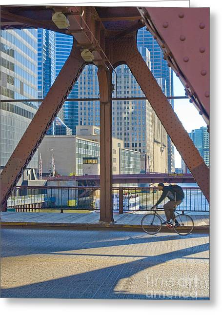 Biker On Bridge Greeting Card by Jim Wright