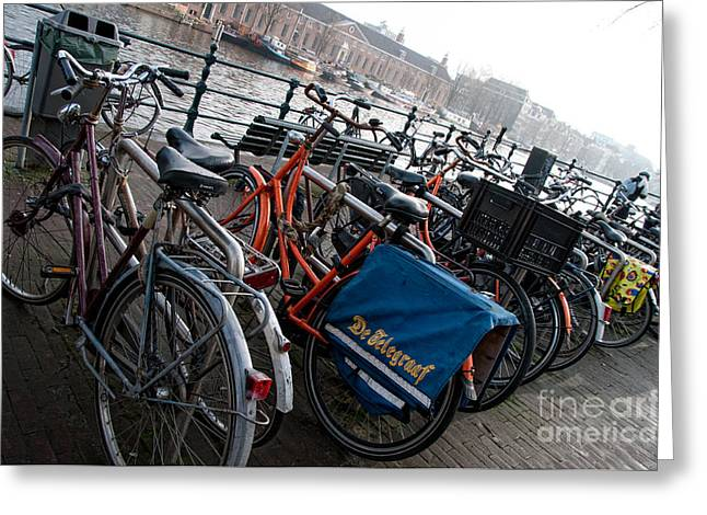 Bikes In Amsterdam Greeting Card by Carol Ailles