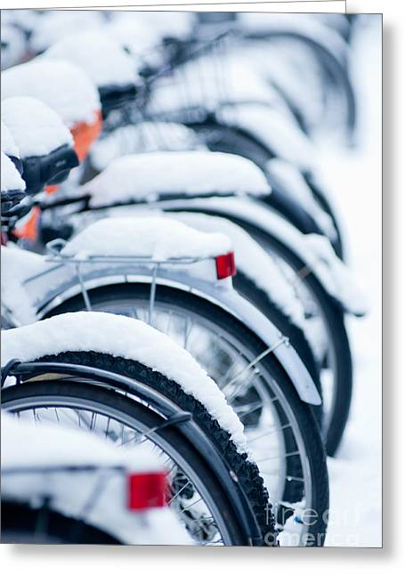 Greeting Card featuring the photograph Bikes In Snow by Andrew  Michael