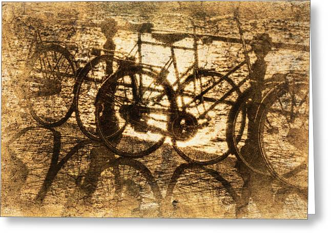 Bikes On The Canal Greeting Card by Skip Nall