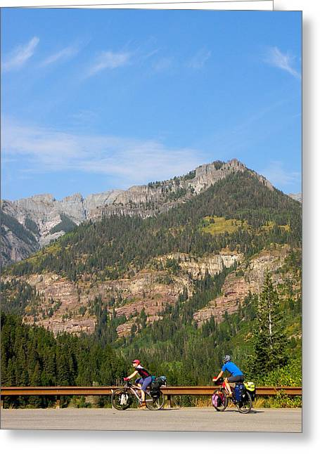 Biking Above Ouray Greeting Card by FeVa  Fotos