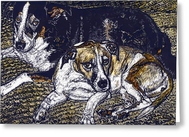 Bill And April Dog Pals Greeting Card by Robert Goudreau